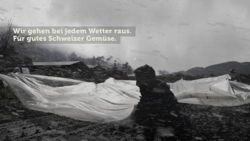 März: Wir gehen bei jedem Wetter raus. Für gutes Schweizer Gemüse.